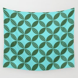Mid Century Modern Geometric Flower Pattern Green and Blue 2 Wall Tapestry