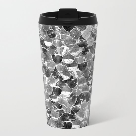 Black and White Abstract Mermaid Scales Pattern Metal Travel Mug