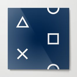 Playstation Controller Pattern - Navy Blue Metal Print
