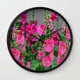 ENGLISH COTTAGE  PINK HOLLYHOCKS  GREEN & GREY GARDEN Wall Clock