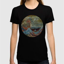 Great Wave On Wood T-shirt