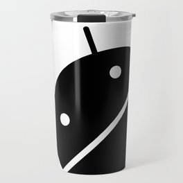Small black Android robot Travel Mug