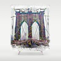 brooklyn bridge Shower Curtains featuring brooklyn bridge by Vector Art