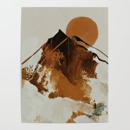 abstract mountains, rustic orange sunrise Poster