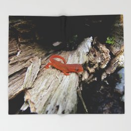 Red Newt Throw Blanket