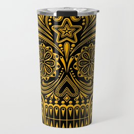 Intricate Yellow and Black Day of the Dead Sugar Skull Travel Mug