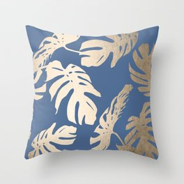 Simply Tropical Palm Leaves White Gold Sands on Aegean Blue Throw Pillow