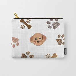 Dog and Doodle Paw Prints and Bones Pattern Carry-All Pouch