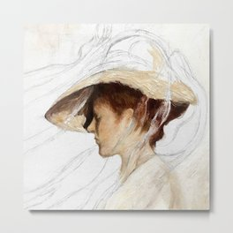 A Girl With A Hat Metal Print