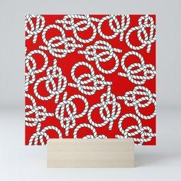 Red Nautical Knots Print Mini Art Print