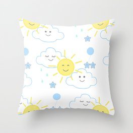 Sun Rain Cloud Nursery Throw Pillow