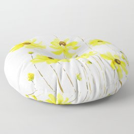 yellow cosmos flowers watercolor Floor Pillow