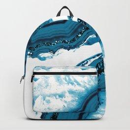 Blue Agate Glitter Glam #1 #gem #decor #art #society6 Backpack