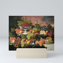 Two-Tiered Still Life with Fruit and Sunset Landscape Mini Art Print