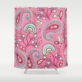 Paisley Pattern (pink and blue) Shower Curtain