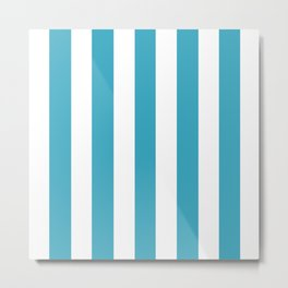 Moonstone turquoise - solid color - white vertical lines pattern Metal Print