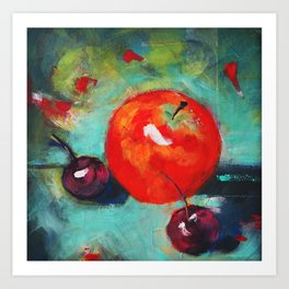 Red apple and some cherries Art Print