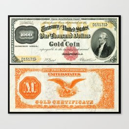 Vintage 1882 US $1000 Dollar Bill Gold Certificate Wall Art Canvas Print
