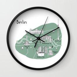 Mapping Berlin - Green Wall Clock