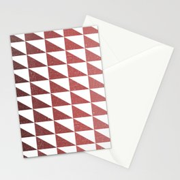 Retro Triangular Geometric Pattern 11 - White, Pink, Maroon, Dark Red Stationery Cards