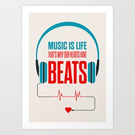 Lab No. 4 - Music Is Life.. That's Why Our Hearts Have Beats Motivational Quotes Poster Art Print