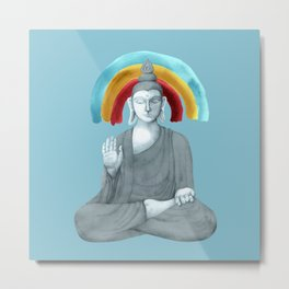 Buddha with rainbow - blue Metal Print