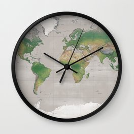Rustic physical world map in taupe Wall Clock