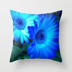 Neon Blue Gerbera  Daisy Throw Pillow