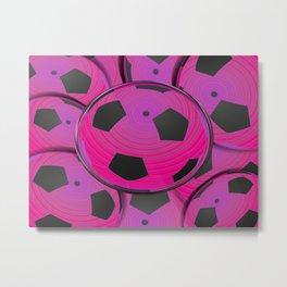 Pink Black Soccer Balls Metal Print