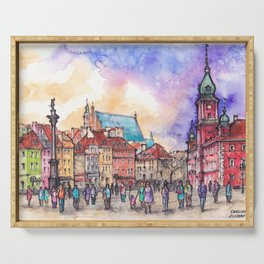 Warsaw ink and watercolor illustration Serving Tray