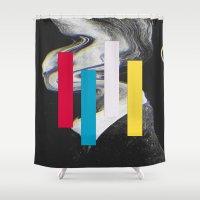 glitch Shower Curtains featuring Glitch by Mrs Araneae