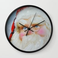 santa Wall Clocks featuring Santa by Mary Timman