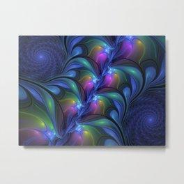 Colorful Luminous Abstract Blue Pink Green Fractal Metal Print