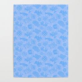 Polynesian Symbols in Mod Blue Poster