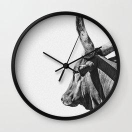 Animal Photography | Ankole-Watusi | Cattle | Bull | Steer | Black and White Wall Clock