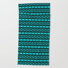 Abstract Pattern Dividers 02 in Turquoise Black Beach Towel