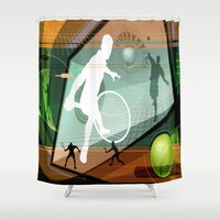 tennis Shower Curtains featuring Tennis by Robin Curtiss