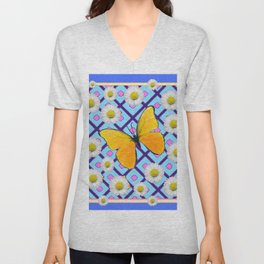 Yellow Butterfly on  Blue-pink Shasta Daisy Abstract Pattern Unisex V-Neck