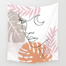 Jungle Line Girl Wall Tapestry