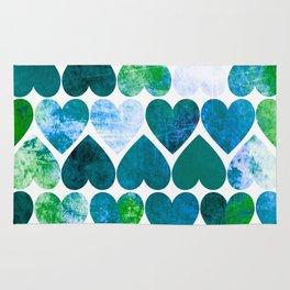 Mod Green & Blue Grungy Hearts Design Rug
