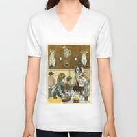 cafe V-neck T-shirts featuring Taxidermy Cafe by CHAR ODEN