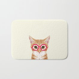 Ginger - Cute cat with glasses hipster cat art for dorm college decor funny cat lady meme Bath Mat