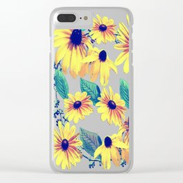 Black-Eyed Susan Pattern 2 Clear iPhone Case