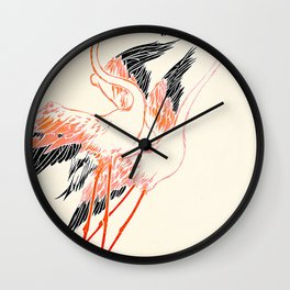 Cocorico cover 1900 Two Pink Flamingos Wall Clock