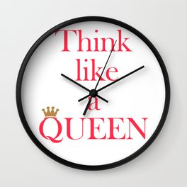 Think like a queen inspiring pink text print and gold crown, gift for her Wall Clock