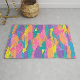Lisa Frank Rainbow Abstract Painting with Glitter Rug