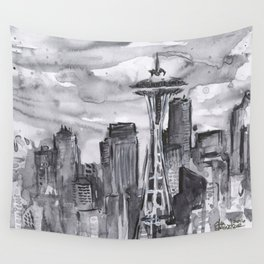 Seattle Skyline Watercolor Space Needle Washington PNW Wall Tapestry