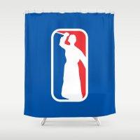 league Shower Curtains featuring Psycho League by dutyfreak