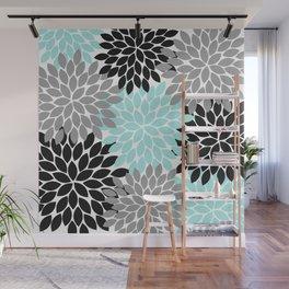 Aqua Black Gray Flower Burst Floral Pattern Wall Mural