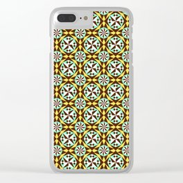 Barcelona cement tile in yellow, brown and blue Clear iPhone Case